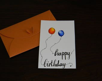 Birthday greetings card, painted with watercolors and black marker, with bronze envelope