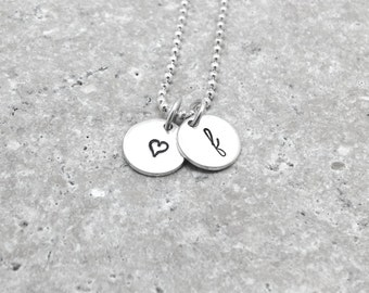 Initial Necklace, Heart Necklace, Sterling Silver Jewelry, Letter f Necklace, Hear Necklace, Hand Stamped Jewelry, Charm Necklace, f