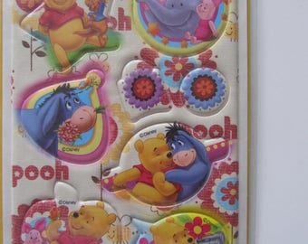 Set of stickers representing a bear and his friends and flowers