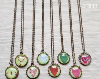 Green Heart Necklace - Green Heart Pendant - Green Heart Jewelry - Art Jewelry - Jewelry - Gift for Her - Valentine's Day Gifts (21-07N)