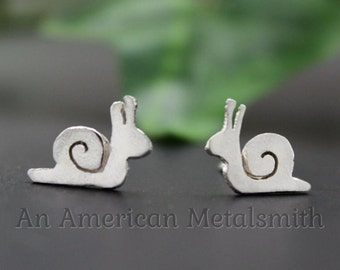 Sterling Silver Snail Earrings, Snail Jewelry, Slug Jewelry, Slug Earrings, Animal Earrings, Gardener Gifts, Snail Gifts, Snail Lover