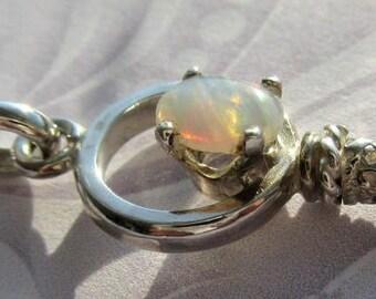 Silver Opal Key Pendant with Chain, Opal Key Pendant, Key Pendant, Opal Pendant, Silver Key Pendant, Silver Opal Pendant, Key Jewelry, Opal