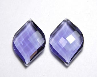 2 Pcs Extremely Beautiful Purple Amethyst Quartz Faceted Fancy Spiral Shape Loose Gemstone Size 25X15 MM