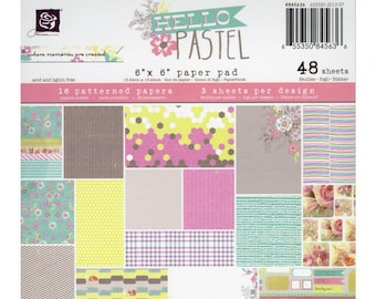 "Prima Marketing Single-Sided Paper Pad 6""X6"" 48/Pkg - Hello Pastel, 16 Designs/3 Each"