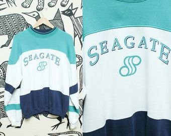 80s Retro Sweatshirt // 1980s Turquoise White Navy Seagate Sporty Sweater // Gear For Sports Novelty Sweater Unisex Size Large