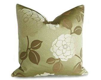 Green Pillow Cover, 20x20 Pillows, Floral Throw Pillow, Gift for Mom, Accent Pillow, Floral Cushions, Green Cream Pillow, Lumbar, 18x18