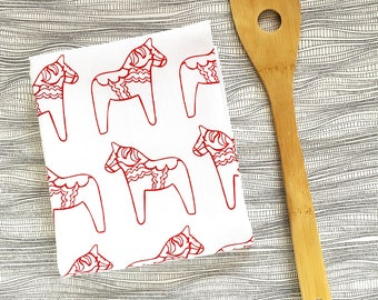Red Dala Horse Tea Towel - Screen Printed - Housewarming Gift - Swedish Kitchen - Flour Sack Towel - Scandinavian Folk art Swedish Christmas