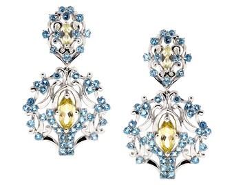 Womens Citrine Blue Topaz Drop Chandelier Earrings 925 Sterling Silver 10.30 carat 2 inch, vintage dangle earrings, gemstone jewelry
