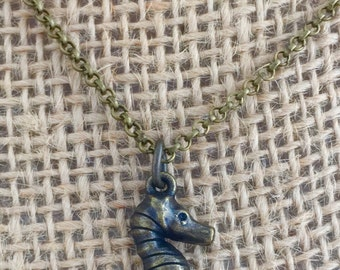 Lucky Little Seahorse Antiqued Bronze Charm Necklace