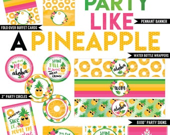Party Like a Pineapple Digital Printable Girls Summer Fruit Luau Floral Birthday Party Printables Package INSTANT DOWNLOAD
