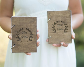 Wedding Vow Books Set of 2 Rustic Wooden Vow Books Vow Book Her His Vow
