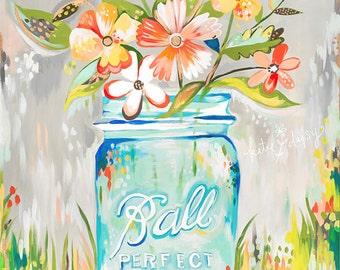 Ball Jar print | Katie Daisy Art | Watercolor Mason Jar | Wall art | 8x10 | 11x14