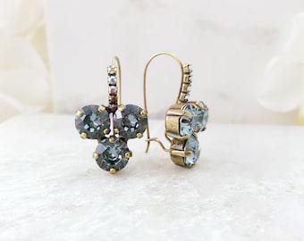 Light Sapphire Earrings - Cluster Drop Earrings - Blue Swarovski Crystal Aquamarine Jewelry - Gray Crystal Dangle Earrings Bronze E3992