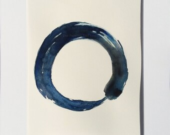 Enso Zen circle painting, original watercolor painting,  11 x 14 with mat, Japanese calligraphy circle, minimalist watercolors