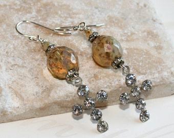 Religious Jewelry, Rhinestone cross earrings, Picasso bead earrings, Long dangle earrings