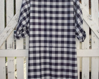 Navy and white checked cotton dress, one size fits most, natural fabric