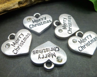 10 Christmas Charms Antique Silver Tone - Merry Christmas - Wine Charms -  jewelry making Findings -MC754
