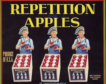 Repetition Apples Vintage Crate Label, 1930's