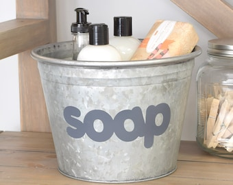 Soap Metal Bucket with Hand Painted Design, Bathroom or Laundry Room Industrial Decor