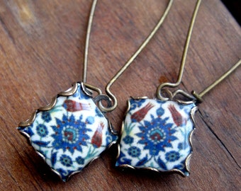 Islamic tile drop earrings, islamic jewelry, dangle earrings, MTO, Tribal Earrings, Muslim jewelry, Middle East