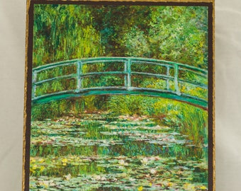 The Japanese Footbridge , Painting by Claude Monet, print canvas with handmade finishes, Size 24x20x1.1 cm.