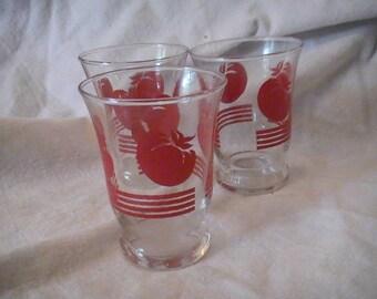 Three Vintage Juice Glasses with Tomatoes