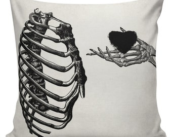 Halloween Skeleton Heart Cushion Pillow Cover cotton canvas throw pillow 18 inch square #UE0124 Urban Elliott