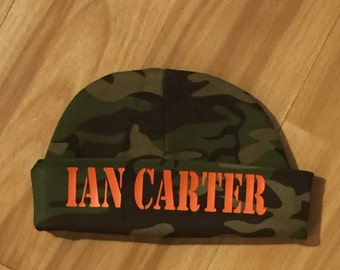 Newborn name hat - Newborn boy personalized name beanie - Baby boy camo hat - camo baby shower - hospital take home hat - newborn hat