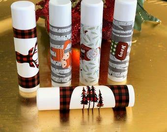 Christmas Lip Balm, Personalized Lip Balm, Holiday Lip Balm, Stocking Stuffer Christmas Lip Balm,  Set of 15 per order.