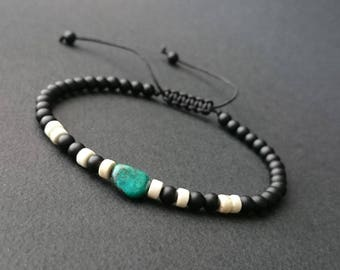 Natural stones, chrysocolla, ivory howlite and matte black onyx mens bracelet