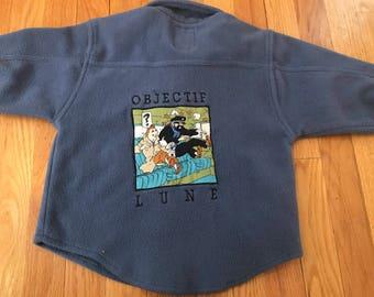Vintage Tintin Snowy Florian Fleece Button Down Boys Untucked Shirt Clothes