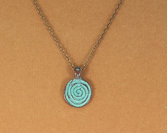 Spiral jewelry, labyrinth spiral pendant necklace, bronze spiral necklace, gift for her.