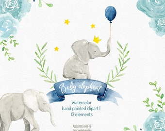 watercolor baby elephant clipart, watercolor clipart, watercolor elephant, baby boy, baby shower,  Kids Clipart, animal clipart
