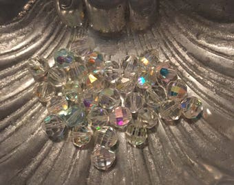 40+ Swarovski Crystal AB Faceted Round Beads 8mm