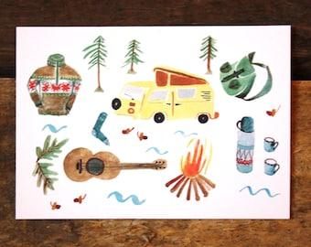 Camping, map, greeting card, bus, guitar, bonfire, tree, colorful