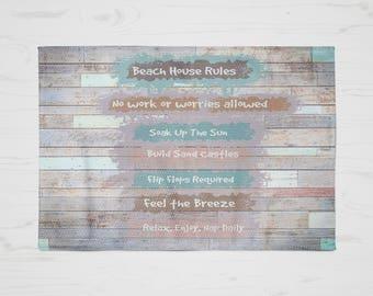Beach House, Beach Rules Rug , Faux Wood