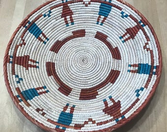 Blood Orange, Turquoise and White Hand Woven Sea Grass Basket #344