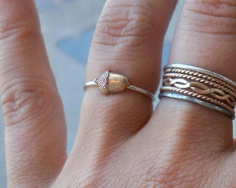 Tiny Little Acorn Sterling Silver Stacking Ring - Brass on Silver - custom made to order