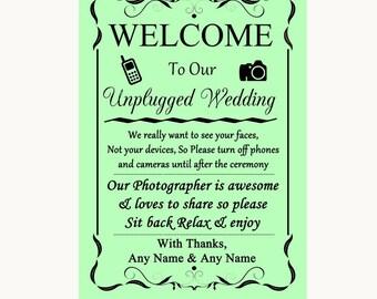 Green No Phone Camera Unplugged Personalised Wedding Sign