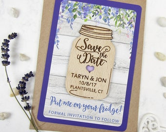 Mason Jar Save the Date Magnet, Wood Save the Date, Purple Save Our Date, Wedding Invitation Set, Floral Save the Date Wooden Wedding Magnet