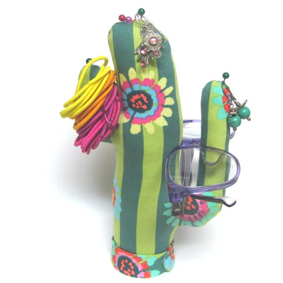 Tall Kaffe Fassett Fabric Saguaro CACTUS-Stand ~ Jewelry Holder ~ Ready to Ship