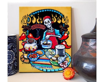 El Catrin Canvas Art Print Day of the Dead Skeleton Barbcue Chef Mexican Folk Art Grill Cooking Colorful Rockabilly Fathers Day Dad Gift