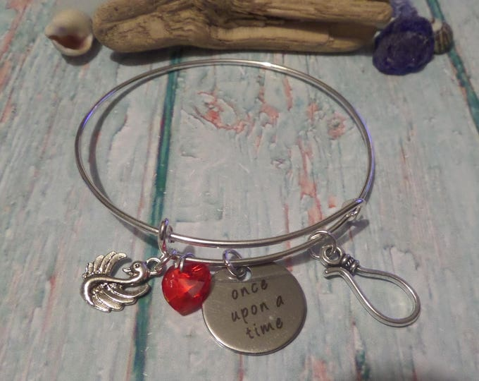 once time bangle, once upon a time, ouat bracelet, ouat charm bracelet, emma hook gift, emma swan bracelet, hook bangle, sandykissesuk