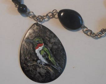 Ruby Throated Hummingbird Beaded Necklace Hand Painted Pendant Jewelry