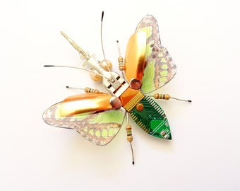 Mini Bug: The Golden Bug-Eyed Beetle, Mini Circuit Board Insect by Julie Alice Chappell