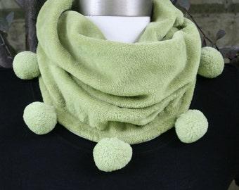 Neck Warmer Cowl Super Soft Fleece Winter Scarf Kiwi Green Pom Pom