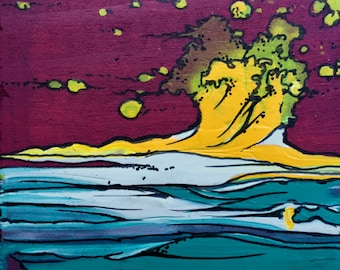 Yellow Wave Abstract Sticker
