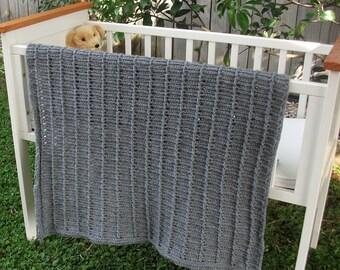 Download Now - CROCHET PATTERN Eyelet Ridges Baby Blanket - Pattern PDF