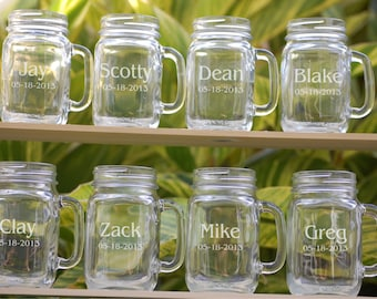 8 Personalized Beer Mugs, Groomsmen Gift, Engraved Mason Jar Glasses, Wedding Party Gifts, Bridesmaids Gift, Groomsmen Glass Monogrammed