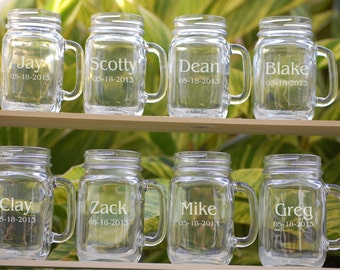 8 Wedding Party Personalized Mason Jar Mugs, Wedding Favors Mason Jar Glasses, Groomsmen Gift, Bridesmaid Gift, Wedding Party Gift Mason Jar